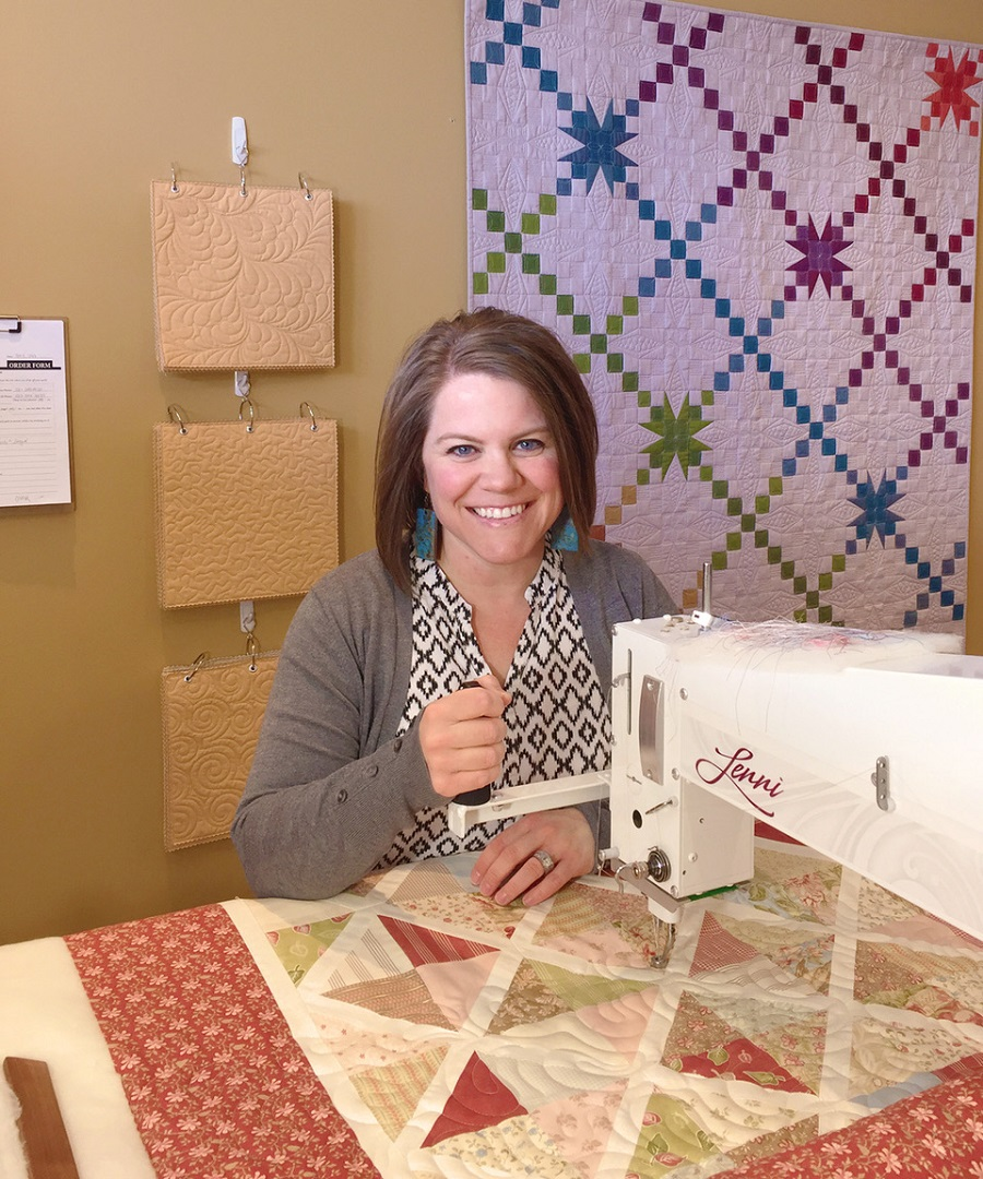 Carrie Rhoades-Behlke, carrie on the prairie, lenni longarm quilting machine, longarm quilting, quilting business, quilting business tips, apqs, angela huffmann