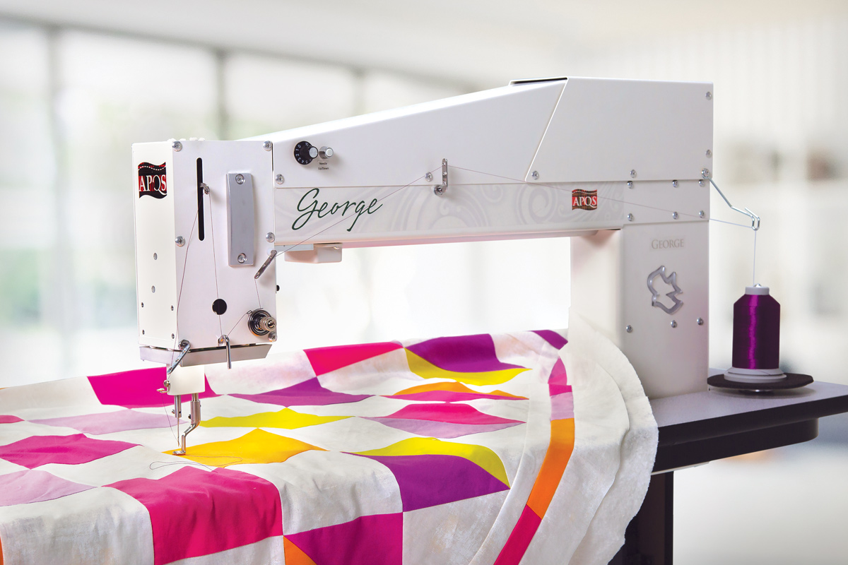 Gallery: George Quilting Machine - Hero photo of longarm quitling machine sit down