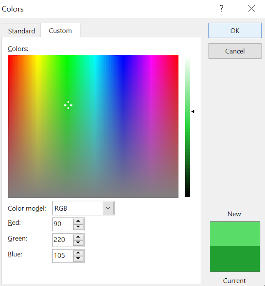 Using the Microsoft Word's font color dialog box to assist in creating a glowing quilt.