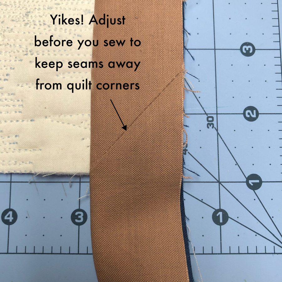 Example of an unwanted seam in the corner.