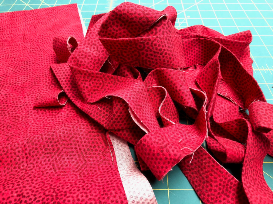 Pile of red binding strips